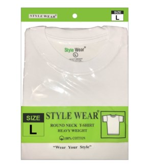 Round Neck T-Shirt - White / Large