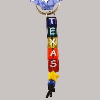 Texas Beaded Keychain