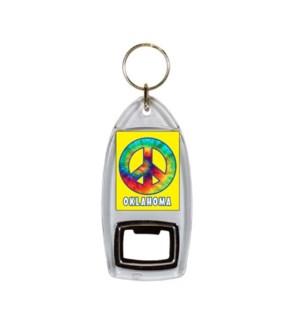 Oklahoma Tie Dye Bottle Opener Keychain