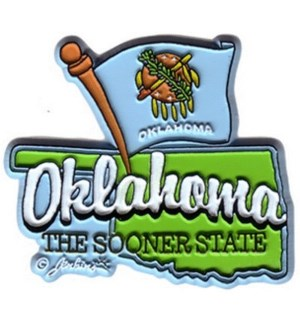 Oklahoma Map & Flag Magnet