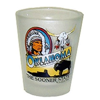 Oklahoma Frosted Shotglass, Sooner State