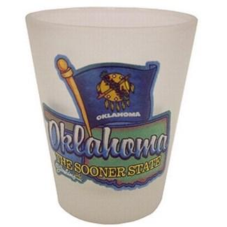 Oklahoma Frosted Shotglass W/Flag