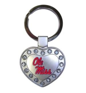 Ole Miss Heart Keychain