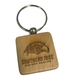 Southern Miss Square Bamboo Keychain