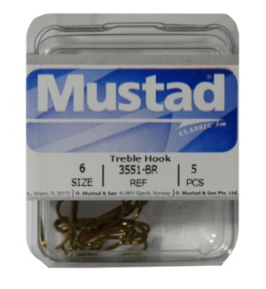 Mustad Brown #6 Treble Hook