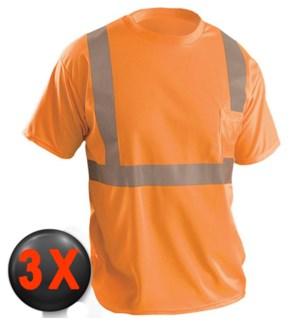 Hi Visibility T-Shirt with Pocket - Orange 3X