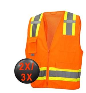Hi Visibility Deluxe Vest - Orange 2X/3X