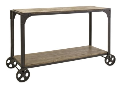 Utilitarian Metal and Wood Console on Metal Wheels