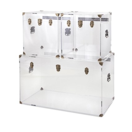 Preston Acrylic Coffee Table and Accent Trunks - Set of 3