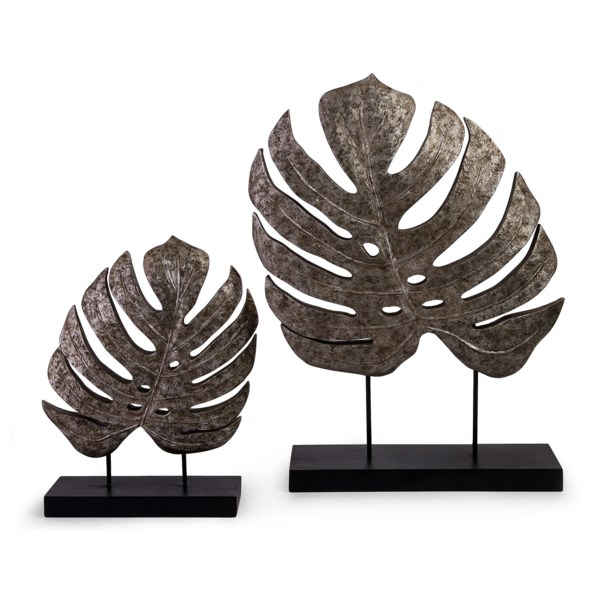 Silver Antiqued Leaves - Set of 2