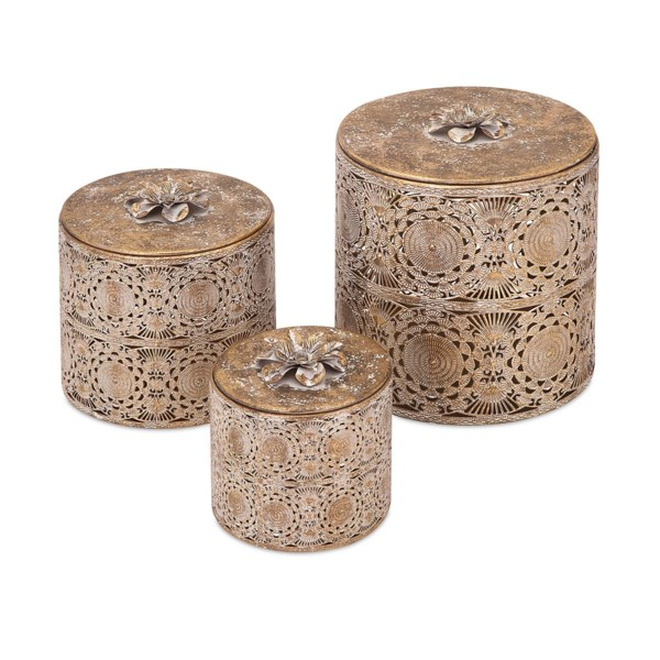 Emerson Pierced Boxes with Lids - Set of 3
