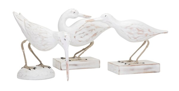 Coastal Carved Wood Seabirds - Set of 3