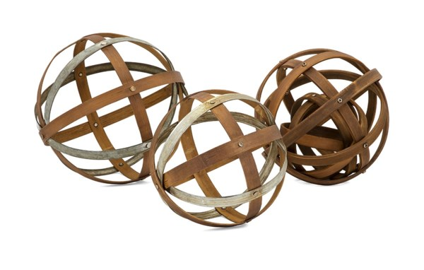 Kaiden Wood and Metal Spheres - Set of 3