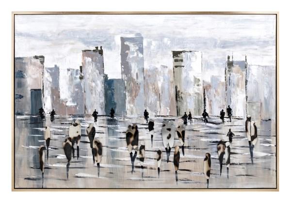 Synchronized Framed Oil Painting