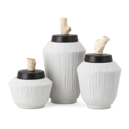 Wawona Decorative Ceramic and Wood Containers - Set of 3