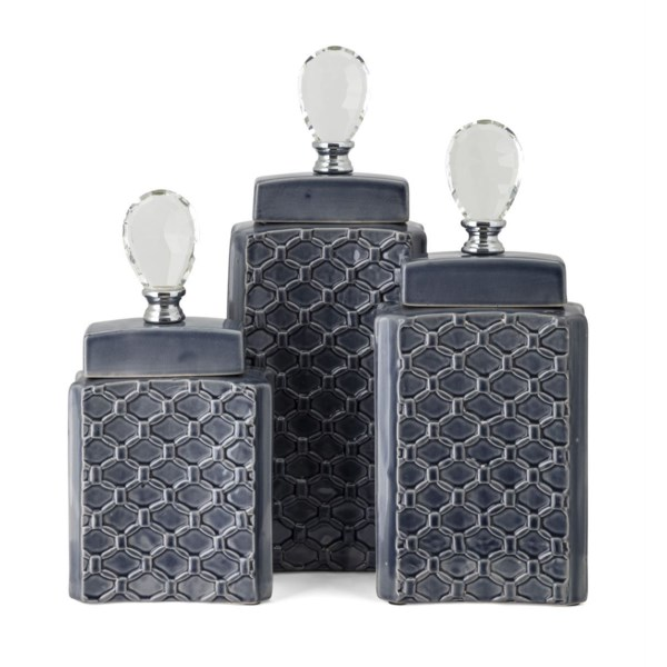 Chesare Decorative Ceramic and Crystal Containers - Set of 3