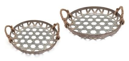 Kirsten Galvanized Baskets - Set of 2