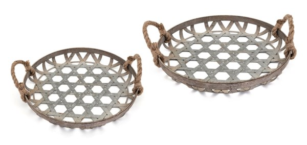 Kirsten Galvanized Baskets - Set of 2