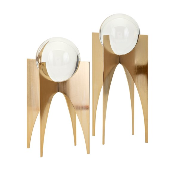 Nk Gold Crystal Balls On Stand Set Of 2 Nk Accessories