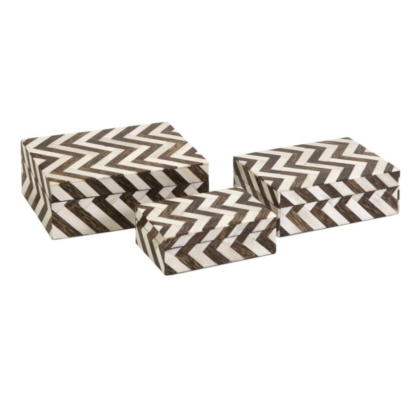 Zigzag Bone Inlay Boxes - Set of 3