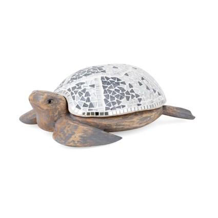 Albasia Carved Wood and Mosaic Turtle with Storage