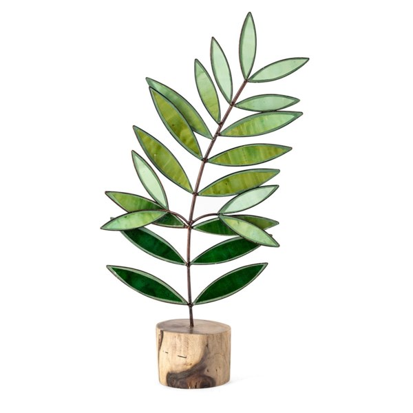 Olive Branch Large Glass and Wood Statuary