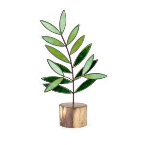 Olive Branch Small Glass and Wood Statuary