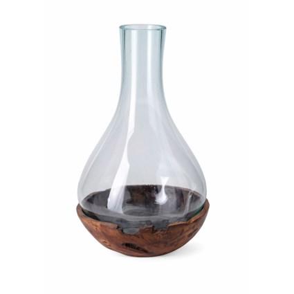 Abner Large Blown Glass and Teak Wood Vase