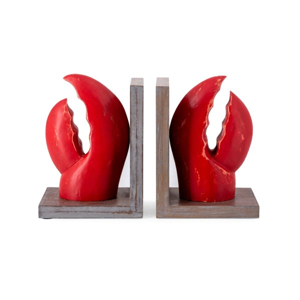 Wood Carved Lobster Bookends