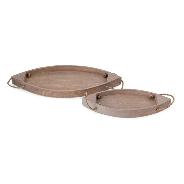 Canoe Wood Trays - Set of 2