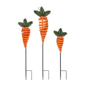 Carrot Garden Stakes - Set of 3