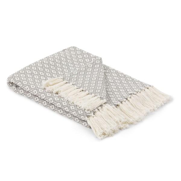 Forli Handwoven Grey Throw Blanket