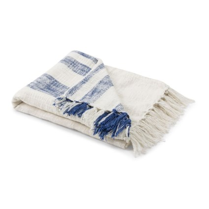 Nantucket Blue Stripe Handwoven Throw Blanket