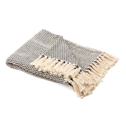 Andria Black and Tan Handwoven Throw Blanket