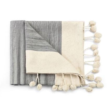 Arezzo Grey and Cream Handwoven Throw Blanket