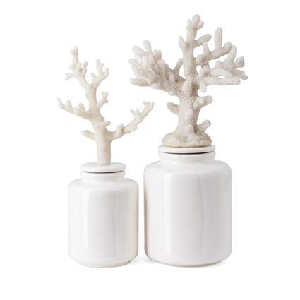 Zander Ceramic Jars with Coral Lids - Set of 2