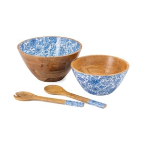 Jemmi Blue and White Decal Wood Bowls - Set of 4