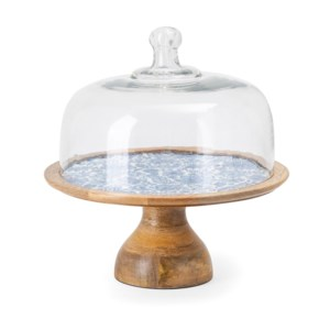 Jemmi Blue and White Decal Wood Cake Stand with Dome