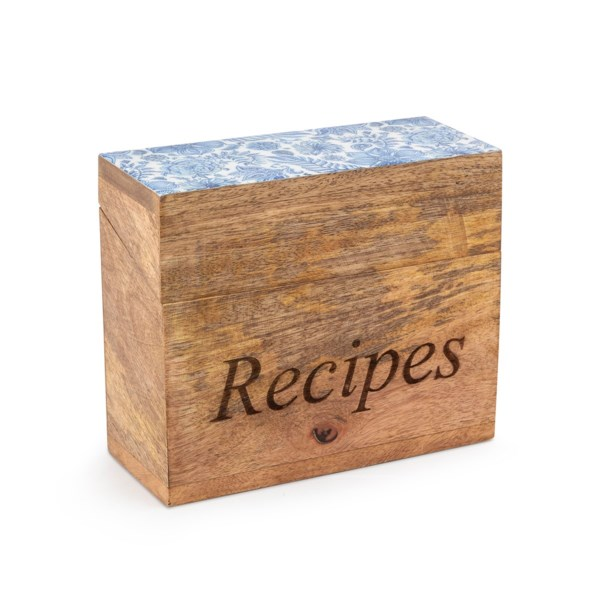 Jemmi Blue and White Decal Wood Recipe Box