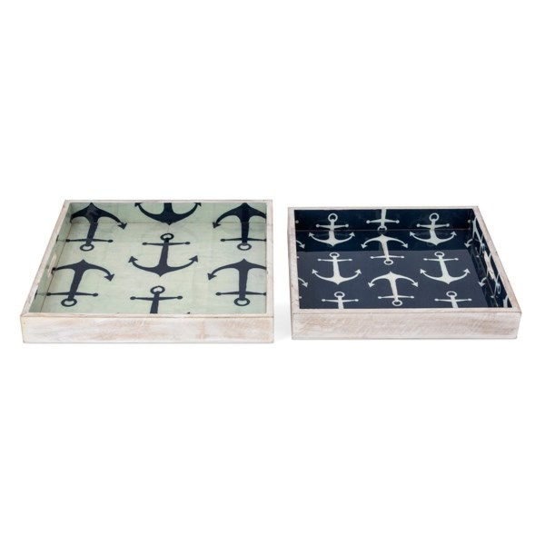 Jesson Anchor Decal Wood Trays - Set of 2