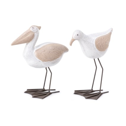 Harbor Ceramic and Metal Sea Birds - Set of 2