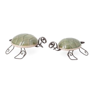 Harbor Ceramic and Metal Turtles - Set of 2