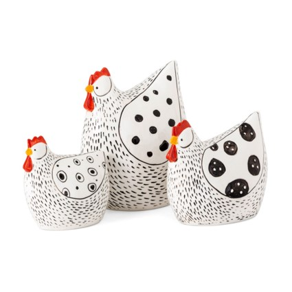 Farmstead Handpainted Chickens - Set of 3