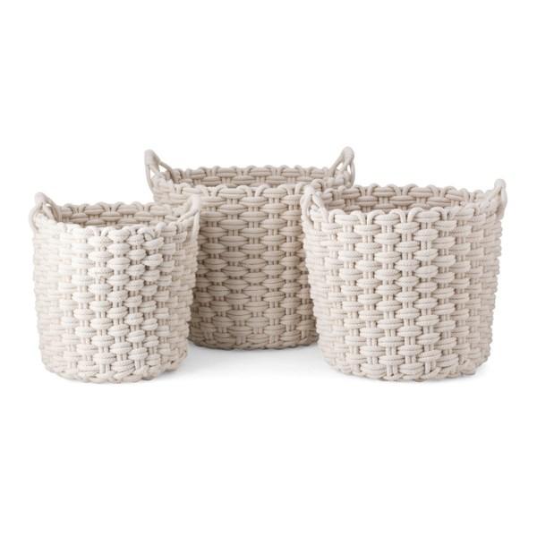 Nantucket Woven Rope Baskets - Set of 3