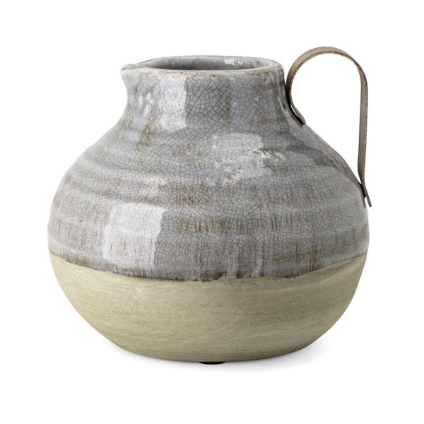 Paolo Ceramic and Metal Decorative Pitcher