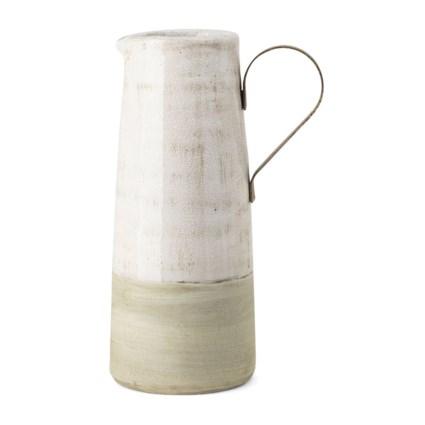 Bence Large Ceramic and Metal Decorative Pitcher