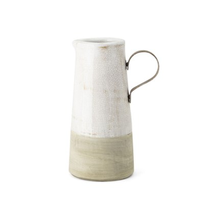 Bence Small Ceramic and Metal Decorative Pitcher