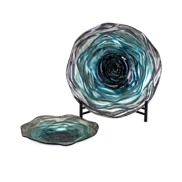 Tilbury Glass Chargers with Stand - Set of 2