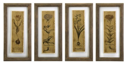 Cassander Double Glass Print Wall Art - Set of 4