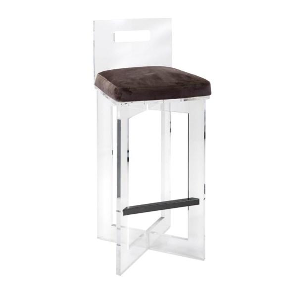 NK Belgrade Velvet And Acrylic Barstool - Nk Furniture ...